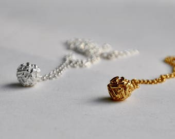 Textured ball pendant necklace silver - silver charm pendant - birthday present - valentines gift