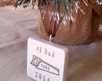 SALE Personalized Dad Christmas Ornament - For the Carpenter Handyman - Saw Design - Gift Box