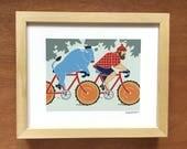 Paul Bunyan and Babe Blue Ox on Bikes Art print