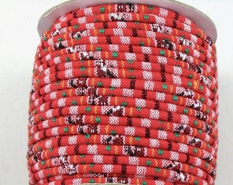 5 feet of 4mm tribal fabric cord in red, black and white.