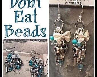 Blue Bow lock and key earrings #17june783