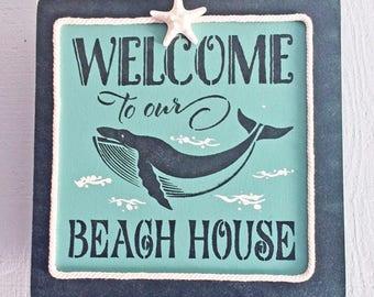 "BEACH DECOR SIGN ""Welcome to our Beach House,"" aqua & black, wood sign, rope, whale, starfish, nautical, coastal, beachy decor, 14"" x 14"""