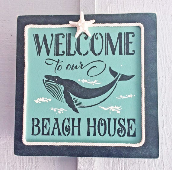 Welcome To Our Beach House Sign: BEACH DECOR SIGN Welcome To Our Beach House Aqua