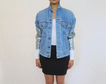 40% OFF The Vintage Levi's Light Wash Silver Metallic Foil Sleeved Jean Jacket