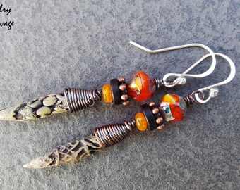 Tribal Primitive Nature Patterned Ceramic Spike Earrings, Orange Beads, Rustic, Copper, Sterling Silver, Wire Wrapped, Organic, Czech Glass