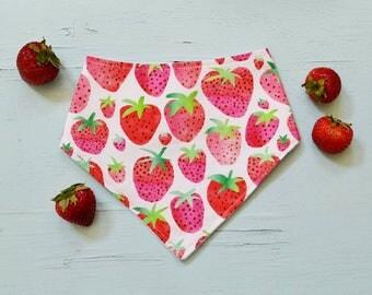 Watercolor strawberry baby bandanna bib