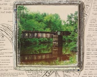 Bridge, Graffiti, Delaware, River, Canal, New Hope, Unique, Affordable, Art, Small, 5 x 5, Wood Panel