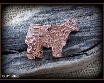"Show Steer, Heifer, Cattle Jewelry, Kiln Fired Earthenware Pottery Ceramic Pendant Approx 2"" Wide"
