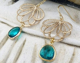 Gold Chandelier Earrings - Teal Jewel, Bohemian, Wedding, Fan, Crystal Glass, Gold Plated, Gift for Her, Bridesmaid, Boho Chic, Dangle