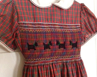 Smocked Dress Red Plaid Scottie Dogs Handmade Size 6-8 1980s Vintage Girls Dress