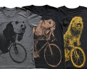 SUMMER SALE Kids Animal on Bicycle T Shirt Pack- Fierce Collection Kids T Shirt, Children Tee, Tri Blend Tee, Handmade graphic tee, sizes 2-