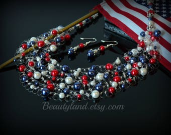 4th July gift Patriotic Necklace Flag Necklace  Patriotic Jewelry Patriotic gift USA gift Independence Day Gift for citizenship