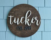 Family Established Sign, Last Name, Custom Wedding Gift, Housewarming Gift, 3D, Wedding Established Wall Hanging, 14 inch Round