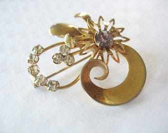Gold Rhinestone Flower Brooch, Light Amethyst, 1950's, Purple, Flower Burst, Swirl, Fashion Pin