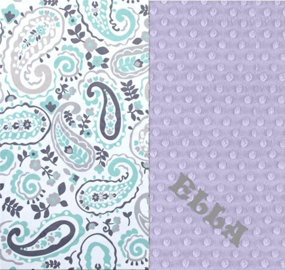 Personalized Baby Blanket Minky Baby Blanket Girl Gray Lavender Mint Paisley - Nursery Decor / Mint Baby Blanket / Name Baby Blanket