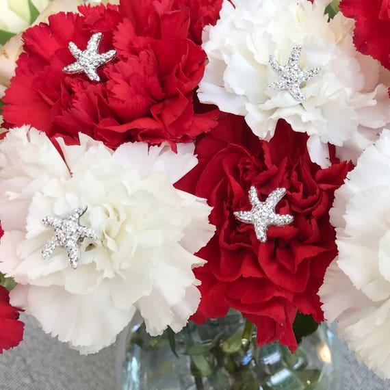 Starfish Bouquet Picks-Silver Centerpieces-Boutonnieres-Flower Pins-Floral Pins-Destination Wedding-Bridal Flowers (Qty6)