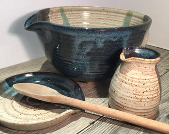 Ceramic Batter Bowl - Mixing Bowl -Kitchen Prep Bowl Set  Toasted Cream and Midnight Blue with  green detail   IN STOCK Ready to Ship