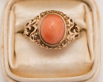 Antique Victorian 10K Gold Salmon Coral Ring