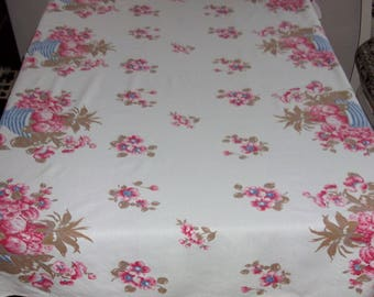 Pink, Blue and Taupe Tablecloth, Flowers, Pineapple, Grapes, Apples, Cotton Rayon Blend 46 x 48 inches