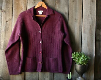 Womens Wool Cardigan Sweater Plum Medium Womens GH Bass Vintage From Nowvintage on Etsy