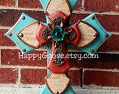Wood Cross - Large Standing Cross - Antiqued Turquoise and Red with Religious wording print, and iron cross with turquoise iron rose
