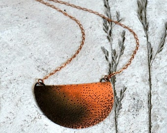 ON SALE Statement necklace, textured copper half moon necklace, modern and rustic - Collision Course