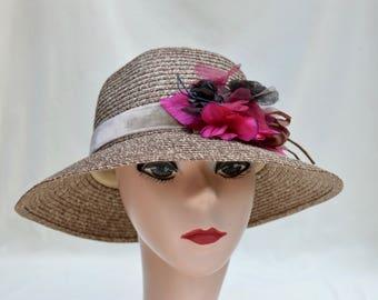 Summer Cloche Hat With Flower Trim / Downton Abbey Inspired Cloche Hat / Brown Cloche Hat / Vintage Inspired Cloche Hat  / Straw Cloche Hat