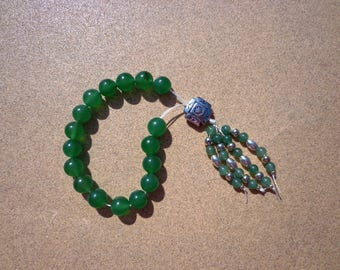 Worry Beads, Green Aventurine Gemstones and Silver Tone Beads, Fidget Beads, Meditation Beads, Mental Clarity Stone, Beaded Tassel