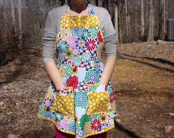 Vintage style Apron with two large pockets