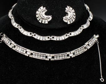 Vintage 1955 Jewels by Trifari, Pave and Baguette Rhinestone Full Necklace Parure