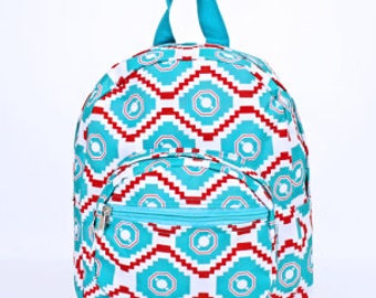 Personalized Preschool Backpack With Turquoise and Red Aztec Pattern