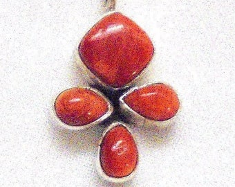 Tiny Sterling Silver Coral Cross Southwestern signed PS