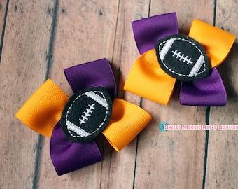 Girls Hair Bows--Yellow Gold and Purple Football Bows
