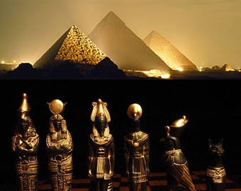 """Made 2 Order]> 7.5""""King.EGYPTIAN Chess set. Antique Ivory and Gold look. Email before ordering"""