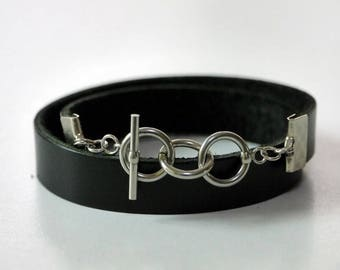 Black Leather Wrap Bracelet Leather Bracelet Leather Cuff Bracelet with Stainless Toggle Clasp