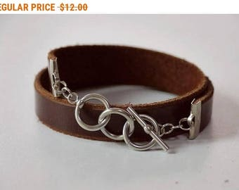 Brown Leather Wrap Bracelet Leather Bracelet Leather Cuff Bracelet with Stainless Toggle Clasp