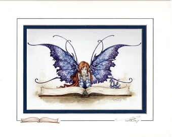 Hand Accented Bookworm Fairy 5x7 matted 8x10 by Amy Brown