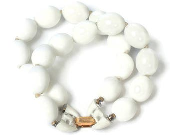 Crown Trifari White Bead  Bracelet Two Strand Vintage