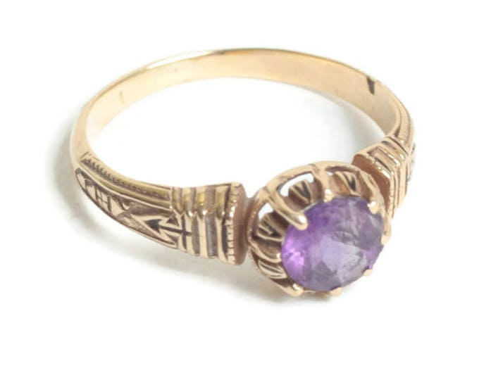 Amethyst and 10K Gold Ring Victorian Revival Style Setting Size 7 1/2