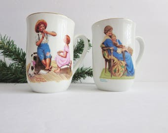 Vintage Norman Rockwell Porcelain Coffee Mug -  Norman Rockwell Museum Coffee Mugs - Bedtime and Music Master -1982