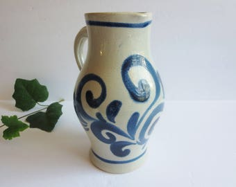 Vintage Salt Glazed Pottery Pitcher -  Grey & Cobalt Blue German Pottery Pitcher - Blue Floral Pottery Kitchen Server - Farmhouse Decor