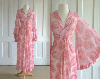 70s Angel Sleeve Maxi Dress 60s Pink Floral Hippie Boho Maxi Dress
