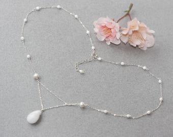 White Delicate Silver Necklace, Summer Weddings, Bridal Shower, White Jade Pearls Silver Necklace, Dainty Necklace, for Sister, Sweet 16