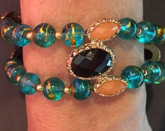 Dramatic Double Row Bracelet of Teal, Gold and Peach