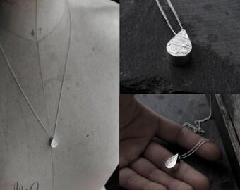 Big 3D Droplet hollow pendant long silver necklace