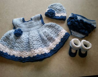Crochet Baby set 0-3 months for baby or reborn doll