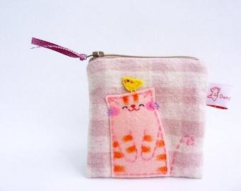 coin purse cat pouch cat purse cotton purse gingham coin purse pink zipper pouch cat lover gift school supplies daughter gift