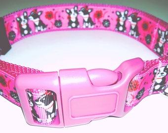 "Pink Puppy Love Dog Collar-Large size 16"" to 25"" adjustable"
