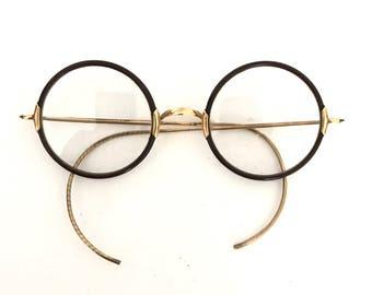 Round Antique True Windsor Style Eye Glasses & GF Gold Filled Spectacles John Lennon Eyeglass Frame Goggles Steampunk Optical Saddle Bridge