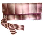 Red  Cream Striped Clutch Bag
